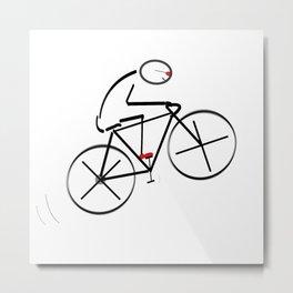Stylized Bicyclist Metal Print
