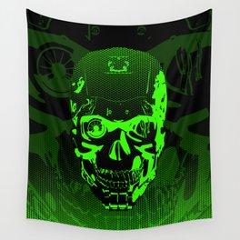 Gamer Skull CARTOON GREEN / 3D render of cyborg head Wall Tapestry