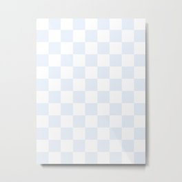 Checkered - White and Pastel Blue Metal Print