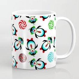 Christmas, Cute Prancing Penguins with Candy Coffee Mug