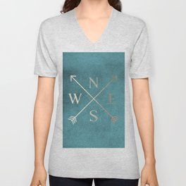 Gold on Turquoise Distressed Compass Adventure Design Unisex V-Neck