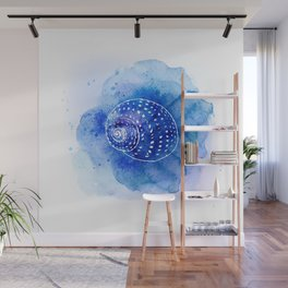 Blue Abstract Watercolor Seashell Rubber Stamp on White 2 Minimalist Coastal Art Wall Mural