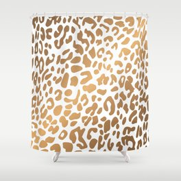 Golden Leopard Print Shower Curtain