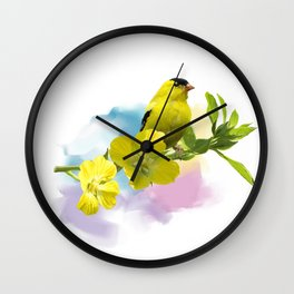 Digital Painting of  American Goldfinch Wall Clock
