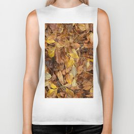 Autumn Leaves Brown Biker Tank