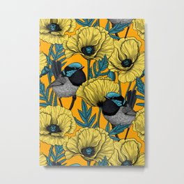 Fairy wren and poppies in yellow Metal Print