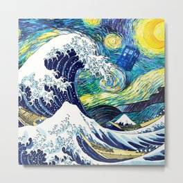 Tardis Starry Wave Night Metal Print