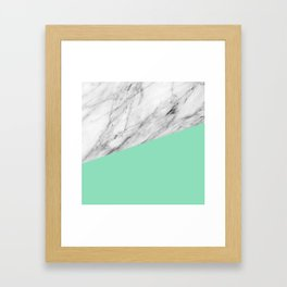 Carrara Marble and Sea Color Framed Art Print