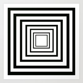Concentric Squares Black and White Art Print