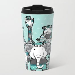 Doodle Animal Friends Aqua & Grey Metal Travel Mug