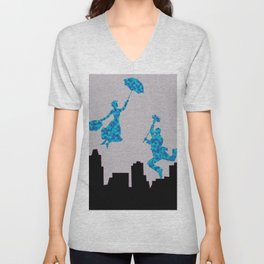 Mary Poppins glittsy Blue Unisex V-Neck