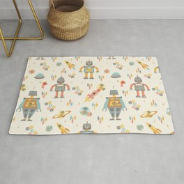Vintage Inspired Robots in Space Rug