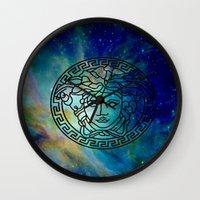versace Wall Clocks featuring Versace Nebula  by RickyRicardo787