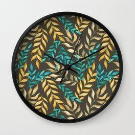 Leaf pattern. Watercolor Wall Clock