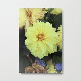 Full Yellow Vintage Flower Metal Print