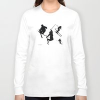 skiing Long Sleeve T-shirts featuring Skiing silhouettes by By Myyna