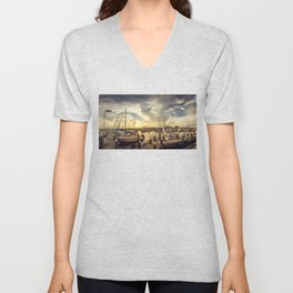 Summer Harbor Sunset Unisex V-Neck