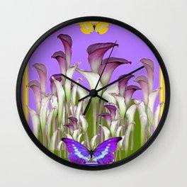 ART NOUVEAU PURPLE CALLA LILIES & BUTTERFLY FLOWERS ART Wall Clock