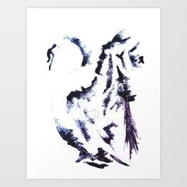 B&W watercolour swan Art Print