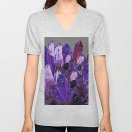 PURPLE AMETHYST CRYSTALS GREY ART Unisex V-Neck
