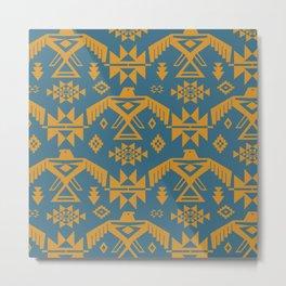 Southwestern Thunderbird Kilim in Teal + Ochre Metal Print