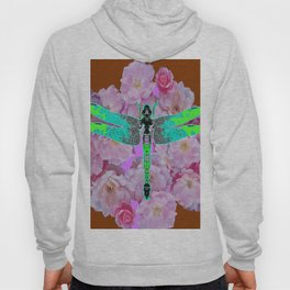 EMERALD DRAGONFLY PINK ROSES COFFEE BROWN Hoody