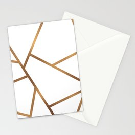 White and Gold Fragments - Geometric Design Stationery Cards