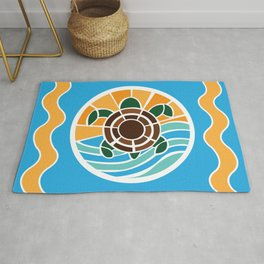Turtle in the waves mosaic Rug