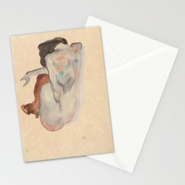 Crouching Nude in Shoes and Black Stockings, Back View - Egon Schiele Stationery Cards