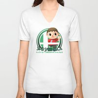 smash bros V-neck T-shirts featuring Villager - Super Smash Bros. by Donkey Inferno