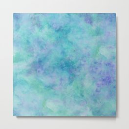 Teal and Blue Tropical Marble Watercolor Texture Metal Print