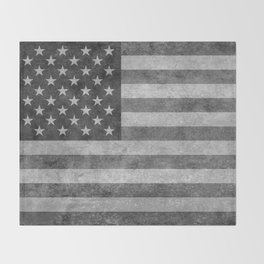 American flag - retro style in grayscale Throw Blanket
