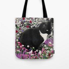 Freckles in Flowers II - Tuxedo Kitty Cat Tote Bag