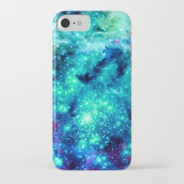 Colorful Teal Galaxy Sparkle Stars iPhone Case