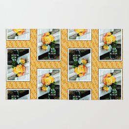 Good as Gold Roses in a vase with a patterned border Rug