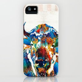 Colorful Buffalo Art - Sacred - By Sharon Cummings iPhone Case