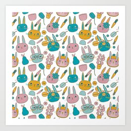 Pattern Project #14 / Bunny Faces Art Print