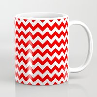 chevron Mugs featuring Chevron (Red/White) by 10813 Apparel