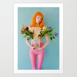 esmee as me with flowers Art Print
