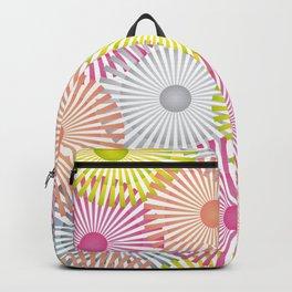 Vintage Geometric Floral Composition - Green, Orange & Pink Backpack