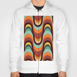 Geometric Colorful Wavy Striped Pattern Hoody