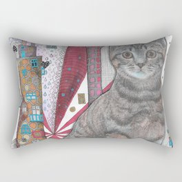 """Cat and apple tree""  Illustrated print Rectangular Pillow"