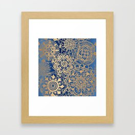 Blue and Gold Mandala Pattern Framed Art Print
