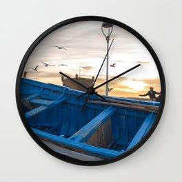 Blue Boat - Essaouira, Morocco Wall Clock