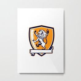 Lion Prancing Crest Woodcut Metal Print