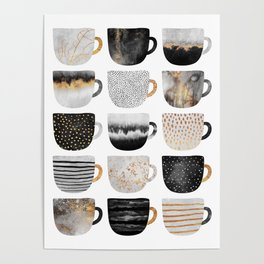 Pretty Coffe Cups 3 - White Poster