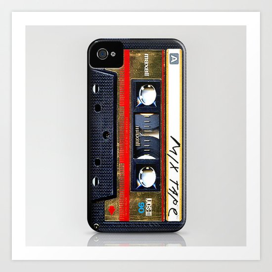 classic retro Gold mix cassette tape iPhone 4 4s 5 5c, ipod, ipad, tshirt, mugs and pillow case Art Print