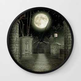 Graveyard #3 * cemetary graveyard tombstone spooky Wall Clock