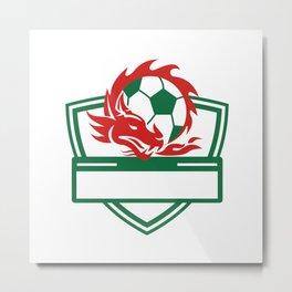Red Dragon Soccer Ball Crest Metal Print