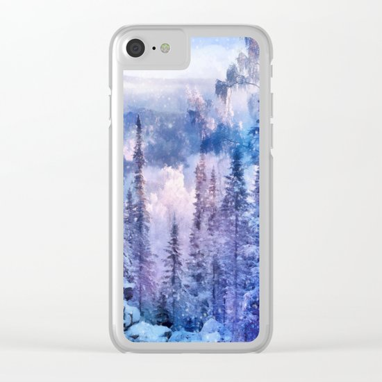 Winter forest in the mountains II Clear iPhone Case